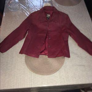 Ladies leather burgundy jacket